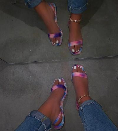 Neon Printing Bright Sandals Women Summer Outdoor Flip Flop Fashion Sandals Flat Beach Slippers Non-slip Durable Home Slides