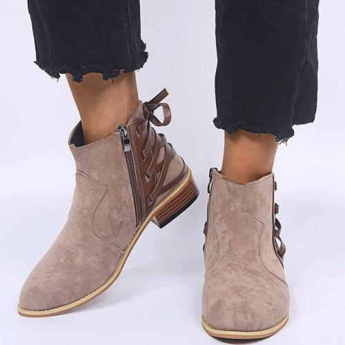 Plus Size 35-42 Women Boots Faux Suede Ankle Boots Back Band Casual Shoes Woman Flat Botas Mujer 2020 Winter Shoes Autumn N7763