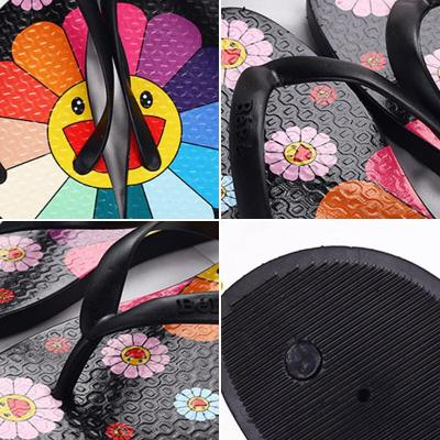Women Summer Slippers Cute Sunflower Flat Flip Flops Ladies Soft Slides Shoes Female Print Floral Colorful Beach Casual Sandals