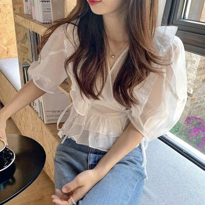 Korean Summer Chic Sexy See Through V Collar Ruffle Side Strap Half Puff Sleeve Shirts Tops Women Blusas Fashion Streetwear 2020