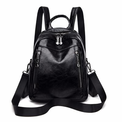 Women Leather Backpacks High Quality 2020 Ladies Bagpack Vintage Preppy Style Solid Backpacks Female New School Bags For Girls