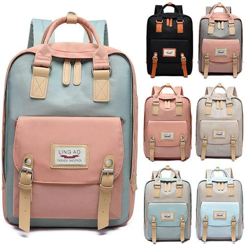 Women's Patchwork Laptop Backpack Oxford Multiple Pocket Travel Bags Partition Notebook School Backpack For Girls