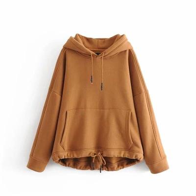 YOCALOR Women Harajuku Cotton Hoodies Solid Patchwork Pockets Regular Oversize Sweatshirt Plus Size Tops Hoodies