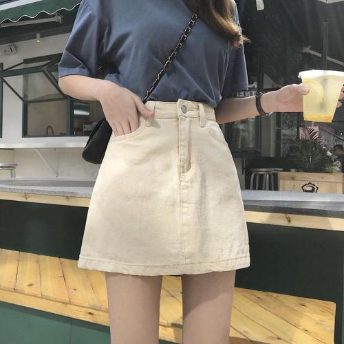 Beige Denim Skirts Women A-Line Button Tassel Pockets Jeans Skirts Summer Korean Vintage Mini Skirts Sexy Zipper Pencil Skirt
