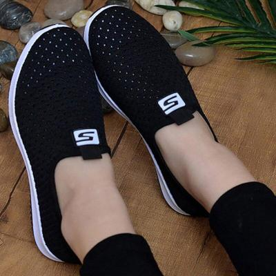 Women Shoes Plus Size Sneakers1  Women Breathable Mesh Sports Shoes Female Slip On Platform White Knit Sock Shoes Casual