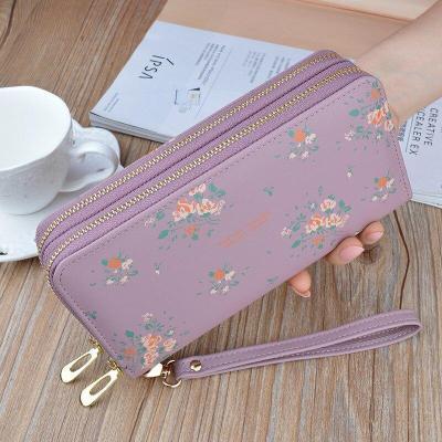 Wristband Phone Purses Women Wallets Splice Female Purse Leather Ladies Long Woman Wallets Big Card Holder Clutch Double Zipper