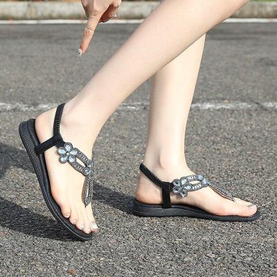 2020 Bohemian Comfortable Women's Shoes Flat Sandals Plus Size Flat Heel Rhinestone Sandals