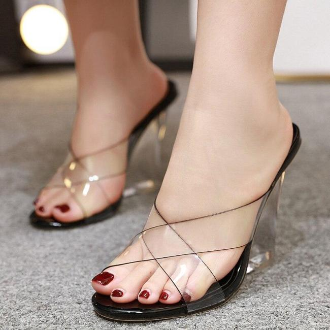 Peep Toe Nude Slip Om Transparent Stiletto 2020 Platform Heels African Woman Shoe Women's High-heeled Shoes Lace-up Clogs Wedge