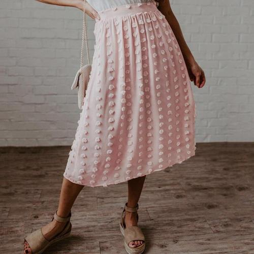 Foridol high waist polka dot chiffon skirt women 2020 summer maxi long skirt casual pink boho beach skirt faldas