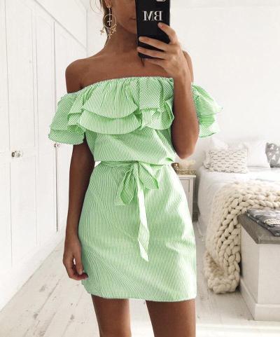Off Shoulder Strapless Striped Ruffles Dress Women 2020 Summer Sundresses Beach Casual Shirt Short Mini Party Dresses Robe Femme