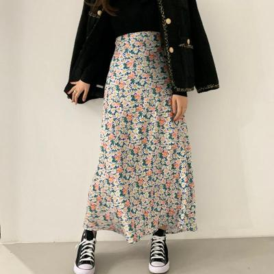 Floral Print Korean Long Maxi Skirts Women High Waist Chic Vintage A-Line Harajuku Chiffon Skirt Summer Beach Boho 2020 W913