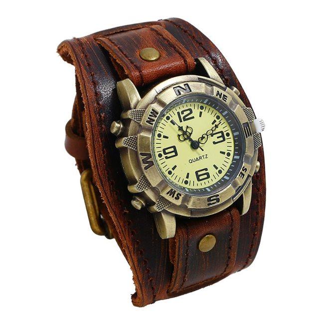 Retro Watch relogio masculino New Reloj Trend Style Retro Watch Men Punk Rock Brown Big Wide Leather Bracelet Cuff Men Watch #A