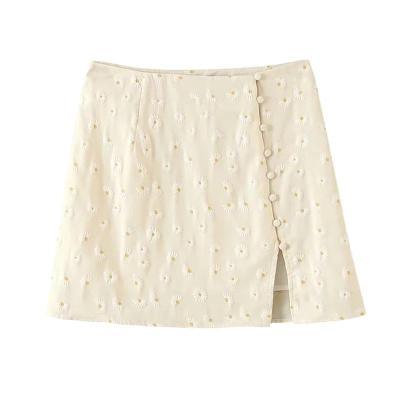 daisy embriodery skirt autumn winter women casual mini skirt side slit chic skirt elegant office skirt short female girl 2020