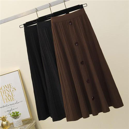 Button Striped Skirts Women Elastic Waist Vintage Autumn Winter Knitted Skirt Warm Thicken Knitwear Long Midi Skirts 2020 W211