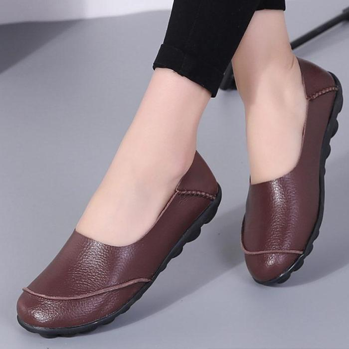 Comfortable Ladies Boat Shoes Genuine Leather Big size 35-44 Women Flats shoes Soft Ladies Lazy shoe chaussure femme
