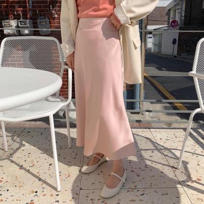 2019 Satin Skirts Women Casual Loose Long Skirts Soft A-Line Pink Summer Skirt Plus Size High Waist Harajuku Korean Elegant V812