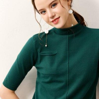 female knitting sweater half sleeves summer women's short pollover spring core yarn fashion soft tops