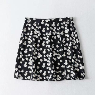 Foridol Daisy Print Cut Skirts Womens High Waist Boho Cara Mini Skirt 2020 Summer Beach Slit Chiffon Skirt Black Faldas Mujer