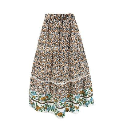 Bohemian floral print long skirt women 2020 summer beach maxi skirt high waist ruffle elastic A-line skirts vintage with flower