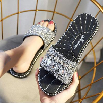 Women Summer Fashion Rhinestone Slides Leisure Ladies Wild Flat Shoes Shiny Outdoor Slippers Female Beach Shoes Woman Sandals