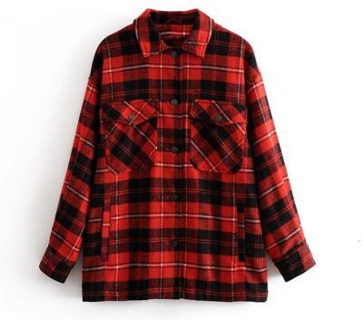 2020 Autumn Winter Plaid Oversize Jackets Loose Causal Checker Streetwear Coat