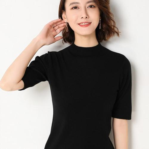 shirt women short sleeves knitting pullover pullover soft spring sweater solid short tops sexy half turtleneck slim knitwear