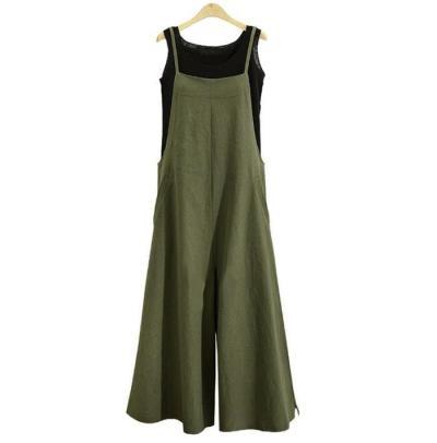 2020 Plus Size S-5XL Women  Dress Cotton Pocket Long Wide Leg Romper Dungaree Bib Overalls Casual Loose Solid Dress