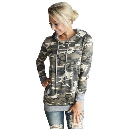 Womens Camouflage Printing Pocket Hoodie Streetwear Cool Hip Hop Sweatshirt Hooded Autumn Drawstring Long Sleeve Pullover Top#Y3