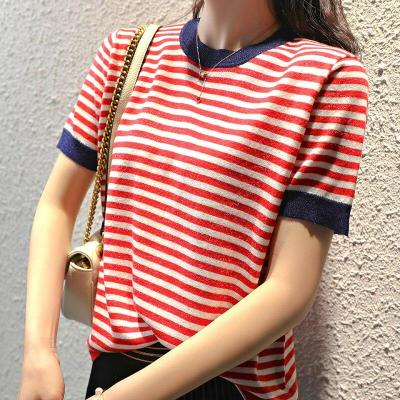 Knitted short sleeve female clothing striped soft slim o-neck jumper elasticity ladies pullover