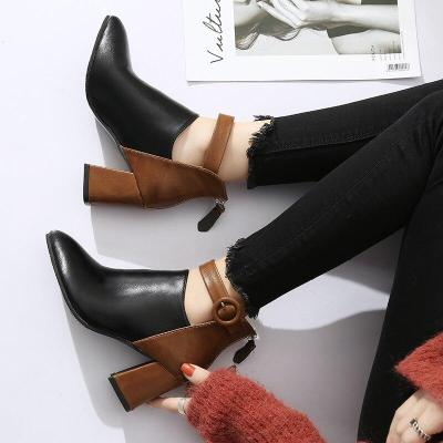 Plus Size 35-44 Women Boots Patchwork Ankle Boots Buckle botas mujer High Heels Booties 2020 Winter Shoes Zip zapatos mujer 7736
