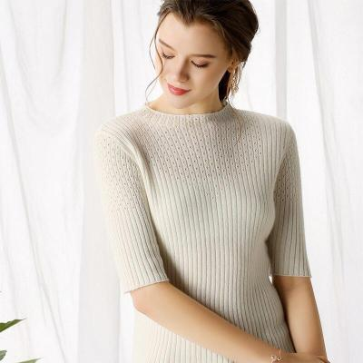Fashion Women knitting pollover autumn hollow pattern half sleeves O-neck solid 35% real Cashmere sweater ladies Tops