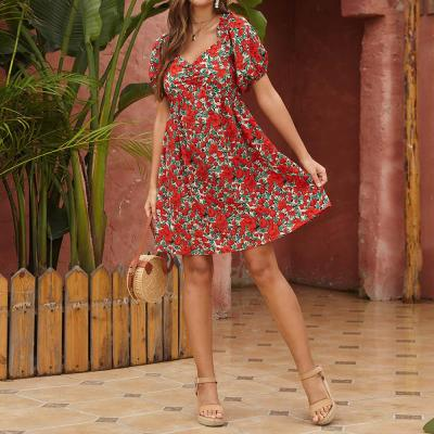 Short Sleeve Summer Dress Fashion Casual Ladies Mini Dress Flower Printed Beach V Neck Female Sundress Robe Femme D30