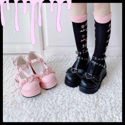 Women's Gothic Punk Lolita Shoes Halloween Cosplay Bat Devil Platform Wedge T-strap Shoes