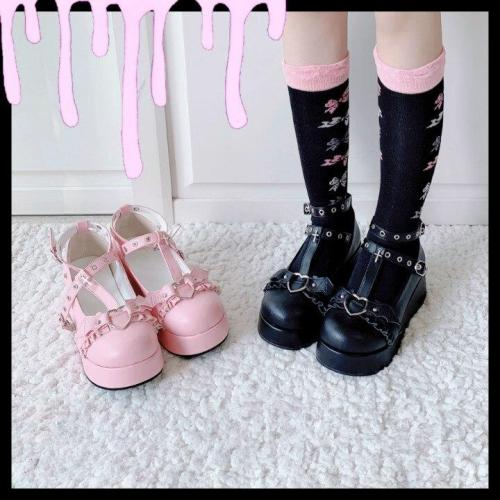 Women's Gothic Punk Lolita Shoes Halloween Cosplay Bat Devil Platform Wedge T-strap Shoes