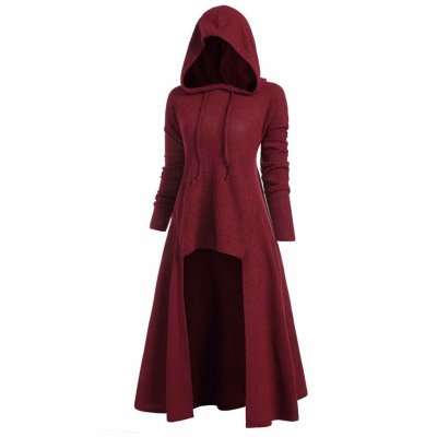 Womens Gothic Long Hoodies Sweatshirt Plus Size Vintage Cloak High Low Pullovers Tops Oversize Outwear Women Sweatshirts 2020#F