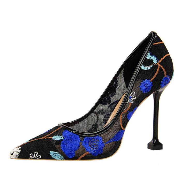 Pumps Women 10CM Thin High Heel Shallow Mouth Pointed Toe Flowers Mesh Lace Mesh Sexy Nightclub Shoes Women G0067