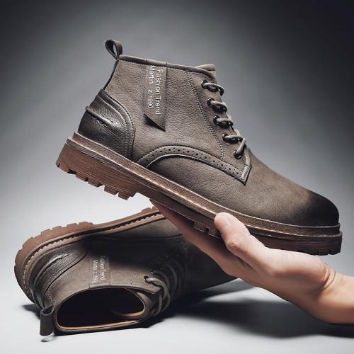 2020 Brand Super Warm Men's Winter Leather Men Waterproof Rubber Snow Boots Leisure Boots England Retro Shoes For Men