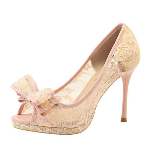 Peep Toe Women Pumps Lace Classic Pumps Mesh Female Shoes High Heel Bridal Bow Chaussure Femme Shallow Women Shoes G0066