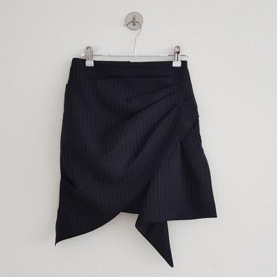 Striped Ruched Mini Skirts Summer High Waist Pleated Skirt Beach Warp Skirts Design Korean Vintage Slim Fit Sexy Pencil Skirts