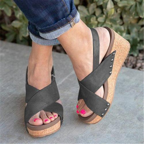 Women Wedges Summer Sandals 2020 Female Solid High Heels Ladies Hoop Look Women Platform Shoes Women's Beach Footwear Plus Size