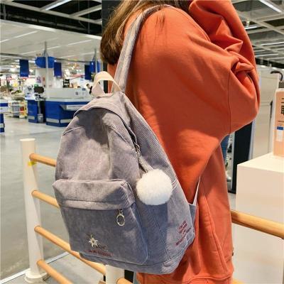 Stripe Female Corduroy Backpack kawaii Women School Bag Embroidery Teenage Girl Cute Backpack Harajuku Fashion Bags Student Lady