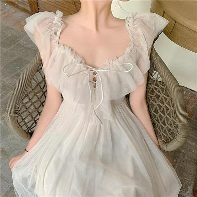 Women dress Actual Photo Of Long Sling Dress With Lace Sunscreen In Soft Yarn In Summer Of Piece Set Women Sleeveless Dress