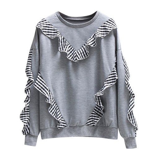 Printed Stitching  Pullover Women Long-sleeve Plaid Casual Side O-neck Sleeve Blouses Female 2020 Spring #F5