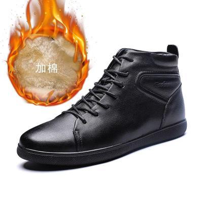 Fashion Men's Warm Boots Male Ankle Shoes Luxurious Genuine Leather Men Boots Waterproof Plush Warm Men Boots