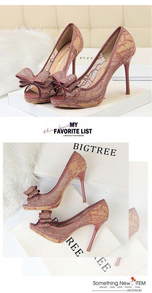 Peep Toe Women Pumps Lace Classic Pumps Mesh Female Shoes High Heel Bridal Bow Chaussure Femme Shallow Women Shoes G0066