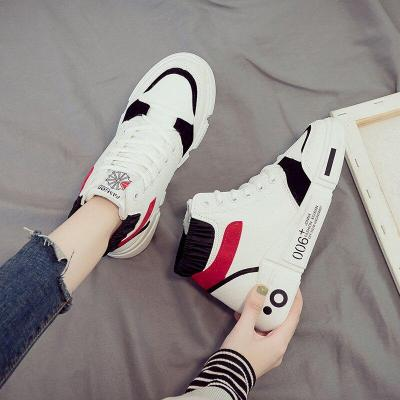 Women's High Top Sneakers Leather Platform White Shoes 2020 Woman Fashion Trend Comfortable Flat Shoes Zapatos De Mujer Deporte