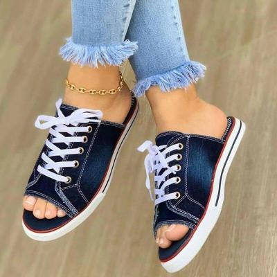 Home Slipper Women 2020 Canvas Women Summer Shoes Slipper Casual Flats Female Lace Up Shoes Big Size Woman Slippers Fashion