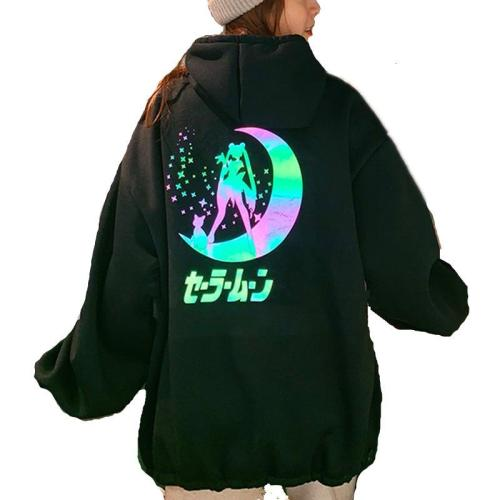 Fashion Reflective New Women's Oversized Casual Hoodie Anime Sailor Moon Illuminate Drop Shoulder Sweatshirt Big Pocket Tops