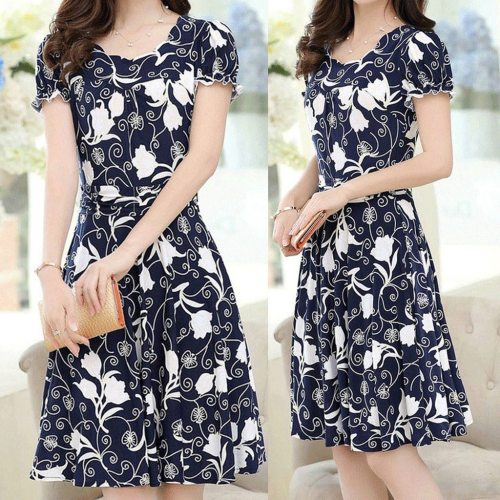 CHAMSGEND Women's Clothing Appliques woman dress Polyester fiber Printing Short Sleeve Jersey regular dresses women female dress