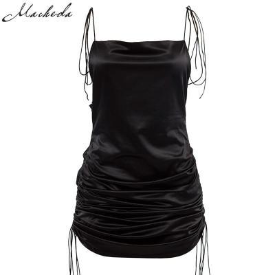 Macheda Fashion Women Solid Spaghetti Straps Backless Sleeveless Sexy Dresses Bottom Length Adjustable Ladies Casual Dress Ne'w